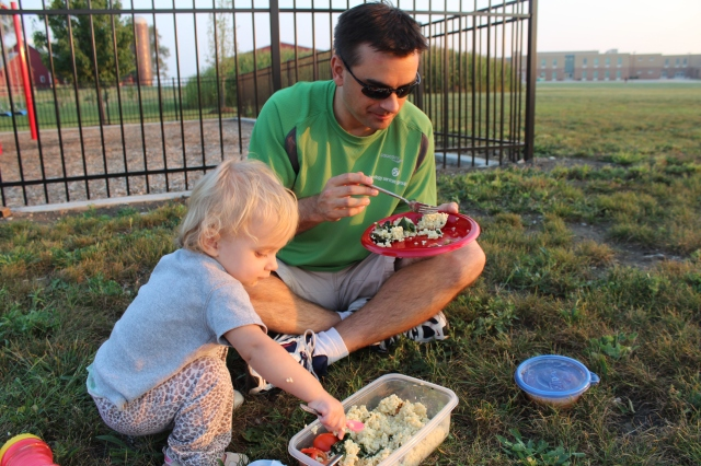 I couldn't resist a throwback to 2011 when we took the babe and the beans and kale on a picnic.  We forgot a plate for Julia, but she made do.
